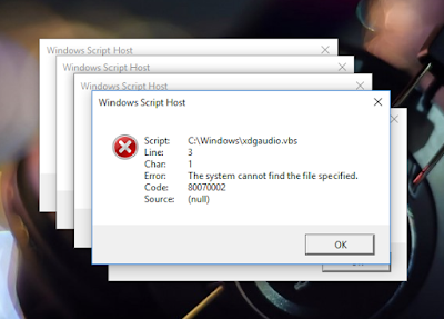 "How to solve the error ""C:/Windows/xdgaudio.vbs ; Line : 3 ; Code- 80070002"""
