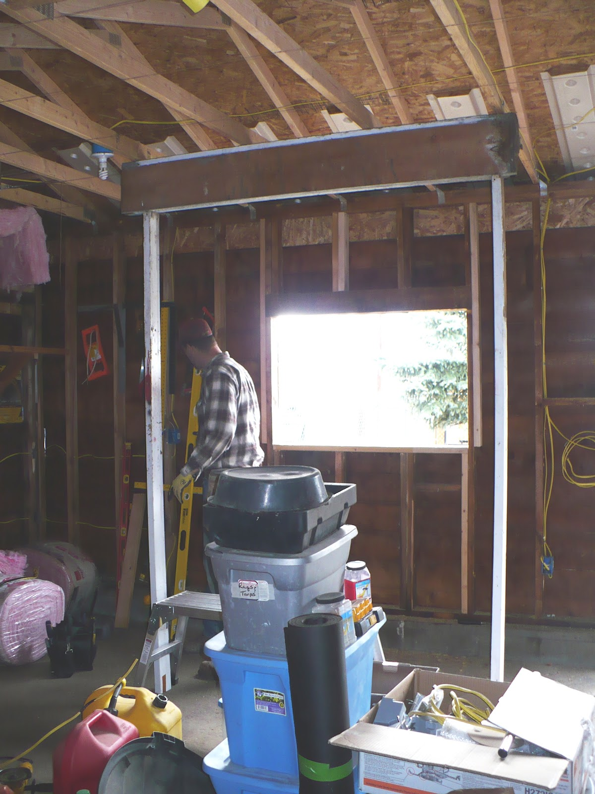 So We Decided To Install The Windows Side By Instead Of One On Each Garage Dismantled Wall And Luke Supported Rafters With A