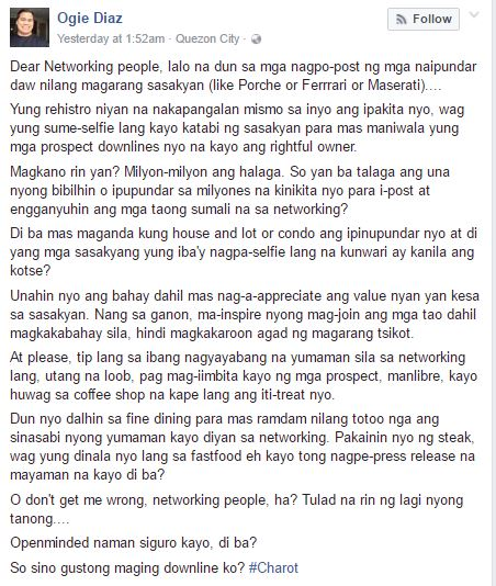 Ogie Diaz Facebook post