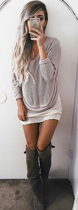 sweater + skirt + over the knee boots