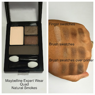 Maybelline Natural Smokes Quad swatches on dark skin