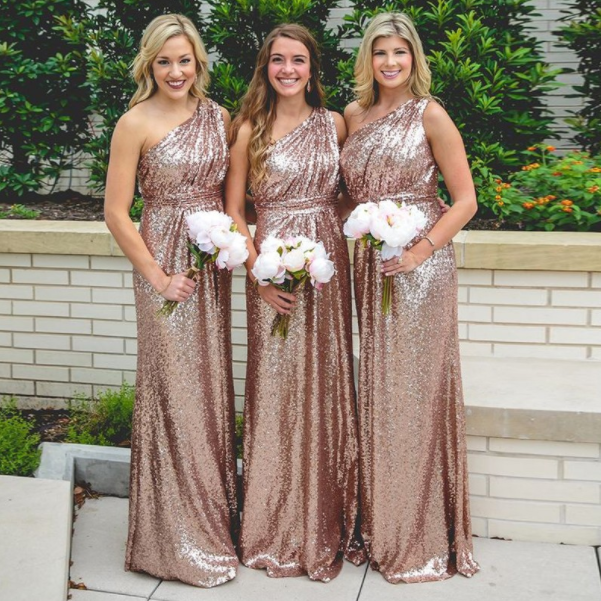 Long Rose Gold Sequined Bridesmaid Dress