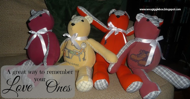 memory bears, memory pillows, family, children, remembering those who've passed,