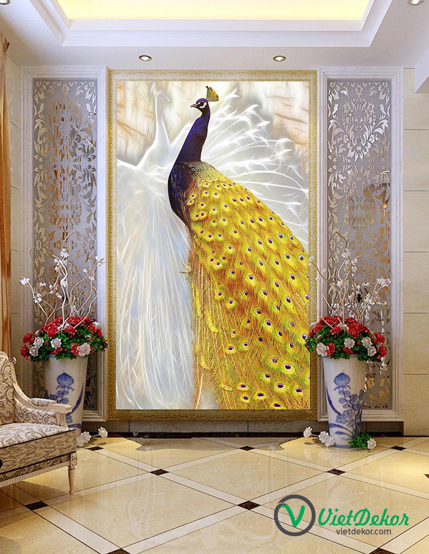 Tranh 3d khổ đứng chim công vàng trang trí sảnh phòng khách đẹp