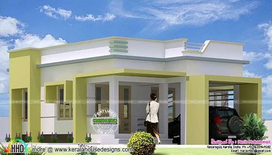 Box type single floor home plan