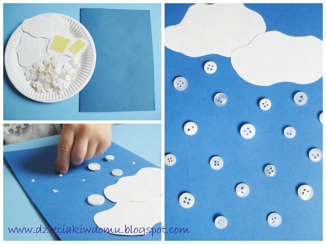 zimowa praca plastyczna dla dzieci, śnieg z guziczków