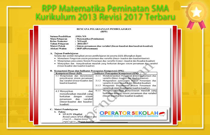 RPP Matematika Peminatan SMA Kurikulum 2013