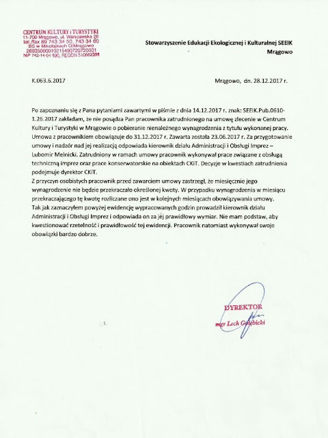 Treść skargi na dyrektora CKiT w Mrągowie
