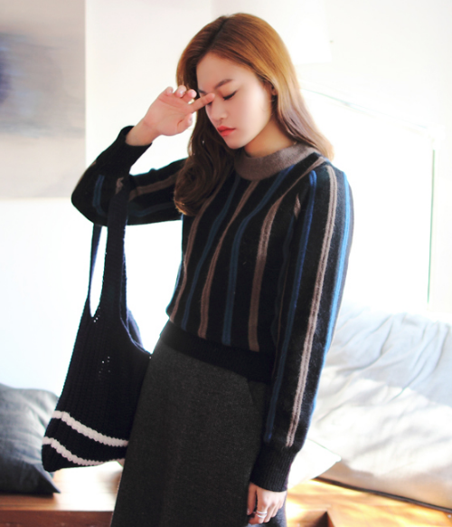 Multi-Colored Stripe Knit Sweater