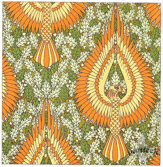 M.P. Verneuil & Eugene Grasset, color ornament eagles on a decorative oakleave back