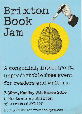 FLyer for the Brixton Book Jam, 7 March 2016, The Hootananny, Brixton, London SW2