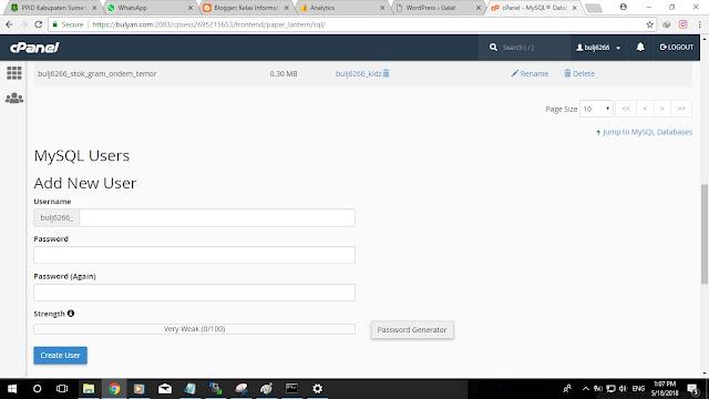 Kelas Informatika - Form MySQL Users pada cPanel Hosting