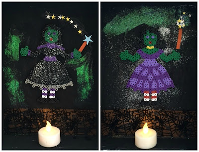 Hama bead Halloween witch display with battery tea light candles