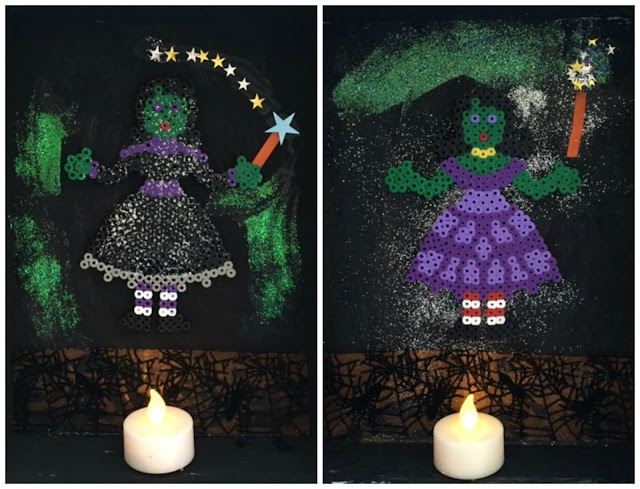 Hama bead witches on display