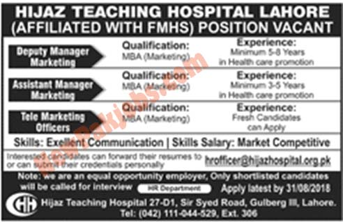 Hijaz Teaching Hospital Required Persons