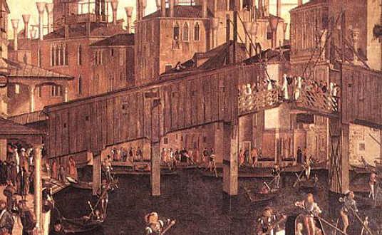 Carpaccio (1460_1526) Venise Le miracle de la relique de la Sainte Croix (détail) le pont en bois ancêtre du pont du Rialto