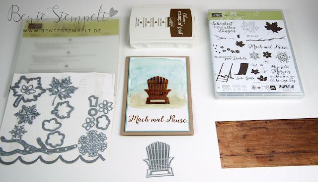 Karte Stampin' Up! Mach mal pause Stempelset Jahr voller Farben Leigestuhl Captains Chair Framelits Aus jeder Jahreszeit Papier Holzdekor
