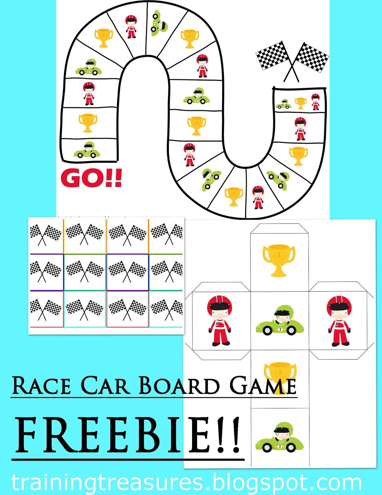 Training Treasures Race Car Board Game Freebie