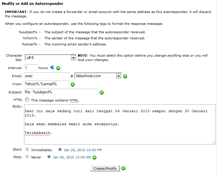 halaman konfigurasi auto responders - faberhost.com