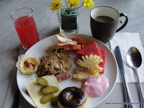 breakfast buffet plate at Vasanti Seminyak Resort Bali