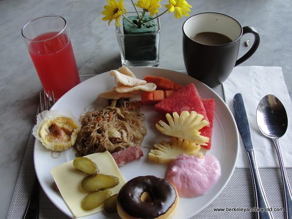 breakfast buffet plate at Vasanti Seminyak Resort Bali