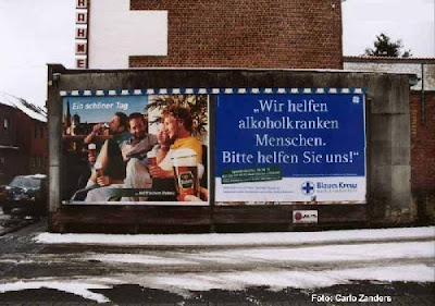 Eine Bier Werbung und Blaues Kreuz, Rettung