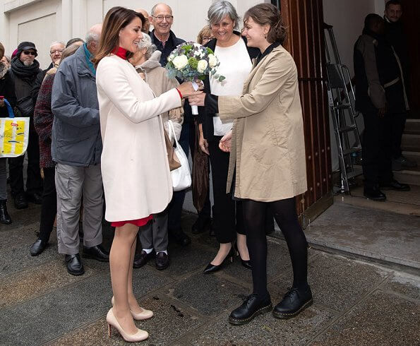 Princess Marie wore Goat Fashion redgrave coat and Antonio Melani Myla pleated waist stretch crepe sheath midi dress