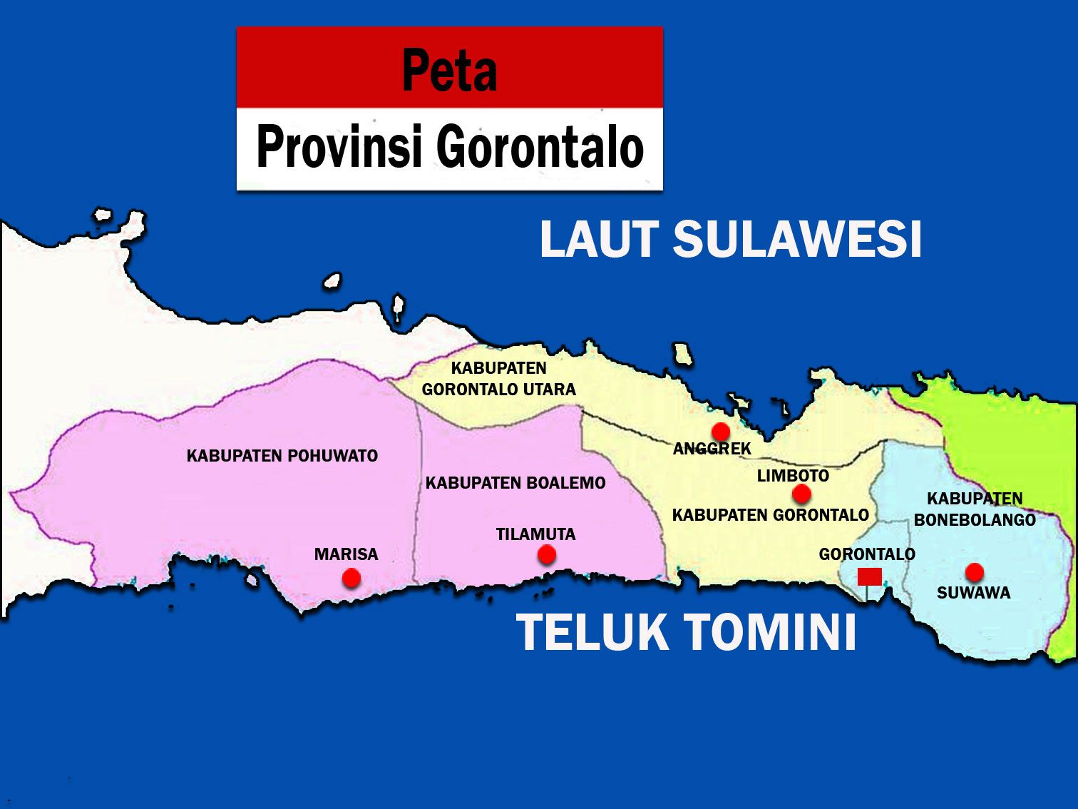Gambar Peta Provinsi Gorontalo lengkap