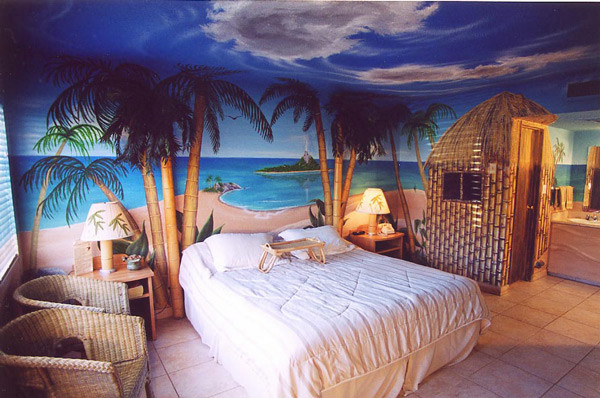 beach theme bedroom design ideas with palm beach trees. beach interior in bedroom