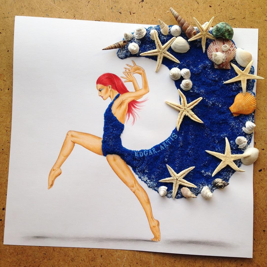 03-Blue-Sand-Seashells-Starfish-Edgar-Artis-Drawings-that-use-Flowers-Food-and-Objects-www-designstack-co