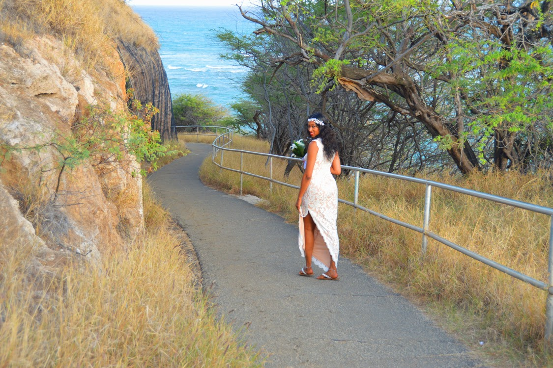 Bride walks to beach