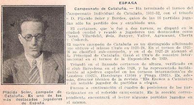 Nota sobre el IV Campeonato Individual de Ajedrez de Cataluña aparecida en la revista Ajedrez Americano nº 47, agosto 1931