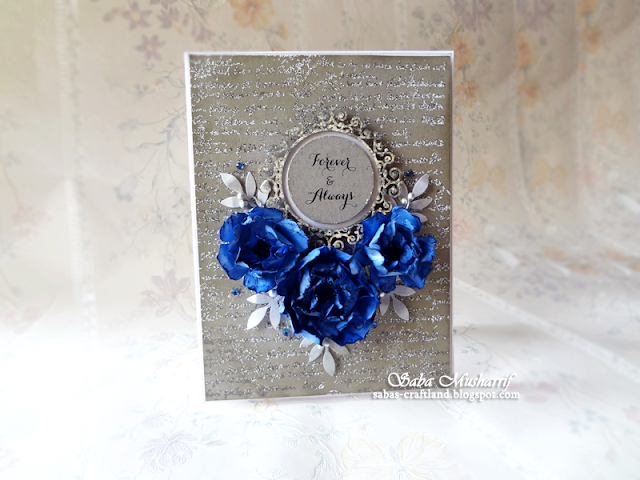 blue gray, Scrapiniec, handmade flower card