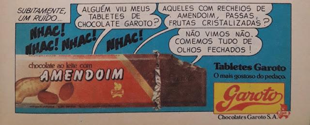 Propaganda dos Chocolates Garoto apresentando sua versão recheada com bastante amendoim