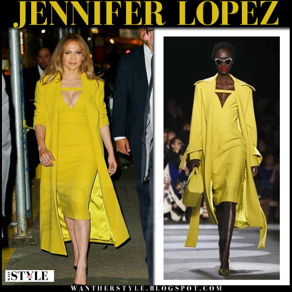 Jennifer Lopez in yellow midi dress and yellow coat christian siriano what she wore