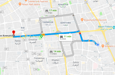 suggested route by google maps