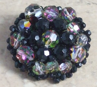 Beaded black brooch large and focal