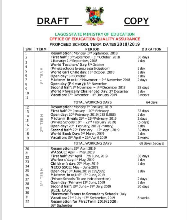 School Calendar Lagos State Year 2018 / 2019 Academic Year