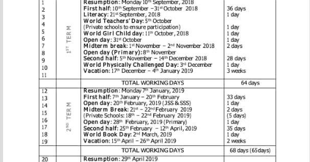 School Calendar Lagos State Year 2018 / 2019 Academic Year - Naija