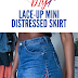 DIY LACE UP DENIM SKIRT