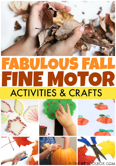 Use these fall fine motor activities to help kids to improve fine motor skills like tripod grasp, bilateral coordination, in-hand manipulation, separation of the sides of the hands, dexterity and other fine motor skills kids need.