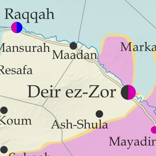 Map of Syrian Civil War (Syria control map): Fighting and territorial control in Syria in September 2017 (Free Syrian Army rebels, Kurdish YPG, Syrian Democratic Forces (SDF), Jabhat Fateh al-Sham / Hayat Tahrir al-Sham (Al-Nusra Front), Islamic State (ISIS/ISIL), and others). Includes Russia-Turkey-Iran agreed de-escalation zones and US deconfliction zone, plus recent locations of conflict and territorial control changes, such as Deir ez-Zor, Maadan, As Suwar, Aqerabat, and more. Colorblind accessible.