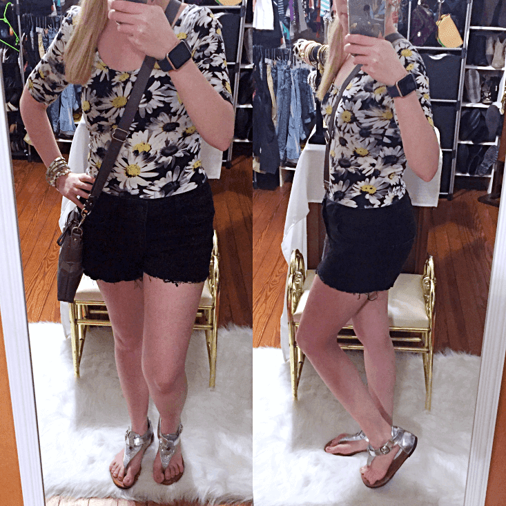 black and white floral outfit of the day summer 2018