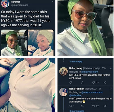 Lady Shares Picture Wearing The Same NYSC Shirt Her Dad Used 41 Years Ago, Twitter Community Reacts.