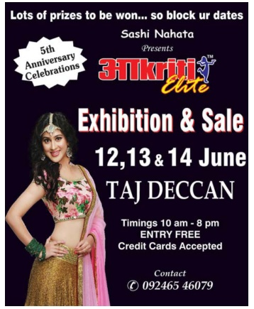 Akriti fashion exhibition & sale 12 14 & 14 June 2017
