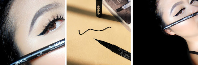 This image shows the Full review of Kat Von D Tattoo Liner in Trooper by Singapore beauty blogger, Curls and Mints.