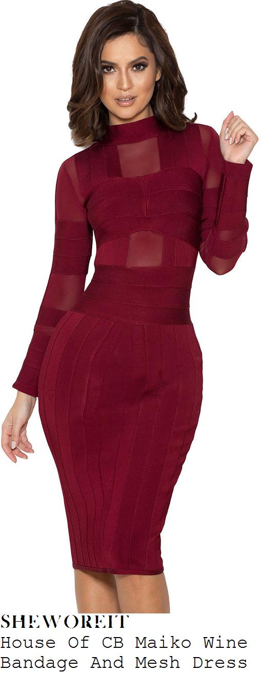 hailey-baldwin-wine-red-long-sleeve-mesh-bandage-dress-instagram