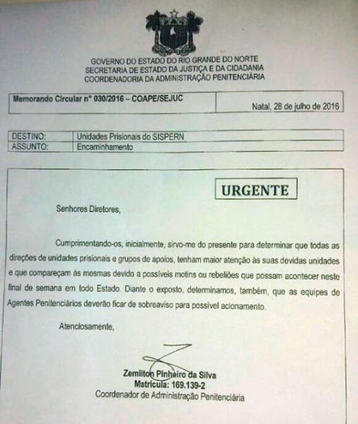 Presídios do RN estão em alerta para possíveis rebeliões no fim de semana