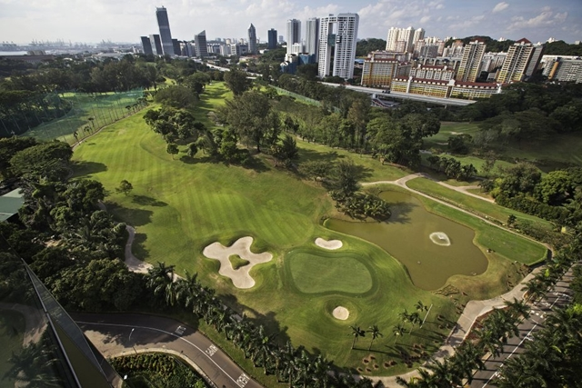 Looking at the golf field from Reflections at Keppel Bay by Studio Daniel Libeskind
