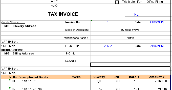 Tax Invoice Format Accounting Education